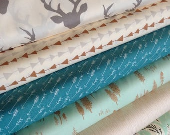 Fabric by the Yard, Hello Bear fabric bundle, Woodland Nursery fabric, Rustic Home Decor, Deer fabric, Bundle of 6- You Choose the Cut