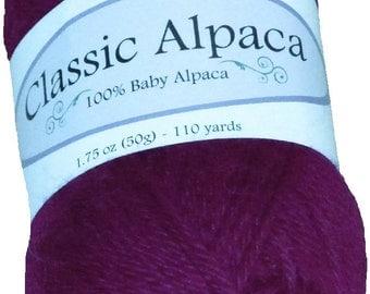 Classic Alpaca 100% Baby Alpaca Yarn #1848 Clematis Purple by The Alpaca Yarn Company - 110 yds per 50g
