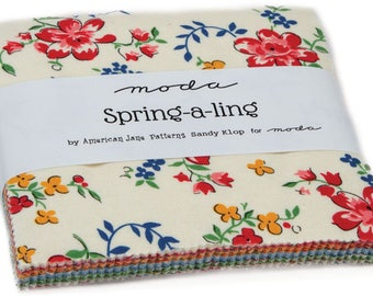 """Spring A Ling Moda Charm Pack 42 -  5"""" precut fabric quilt squares by American Jane"""