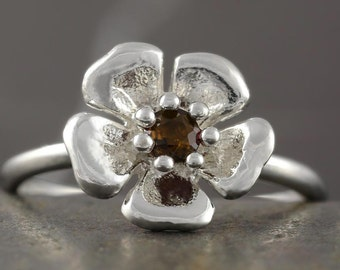 SALE - 50% off the original price - Sterling silver sakura flower ring with smokey quartz - size 6