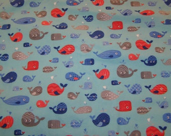 Happy Whales Flannel Fabric