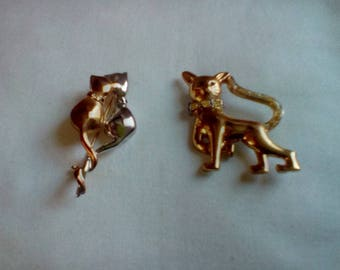 Lot 4 vintage cat pins brooches costume fashion jewelry