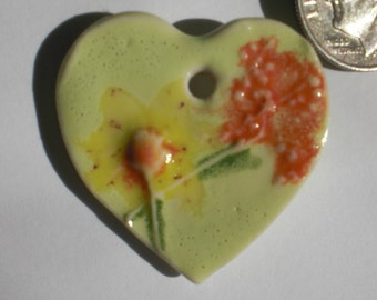 Porcelain Wildflower Heart Pendant
