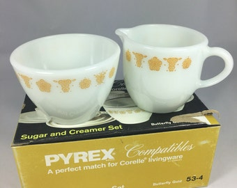 Pyrex Butterfly Gold Cream and Sugar Set Compatibles NIB