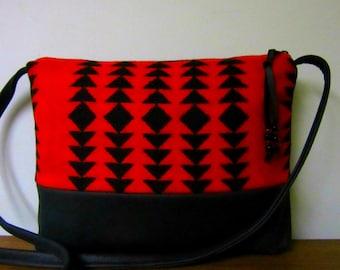 Wool Cross Body Bag Purse Shoulder Bag Soft Black Leather Red Black Southwest Style