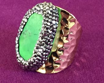 Dara Ettinger Natural Green Turquoise, Pave Crystal and Gold Adjustable Cigar Ring