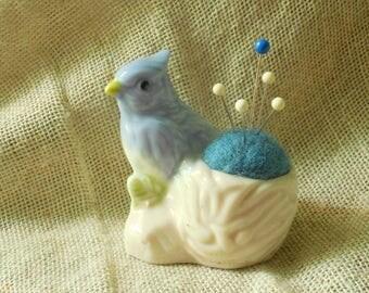 Cute Tiny Blue Bird Pin Cushion