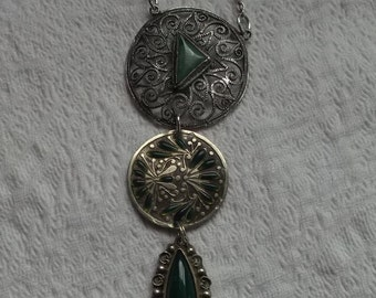 Lovely Long Sterling Silver Filigree Jade Green Enamel and Green Onyx Necklace