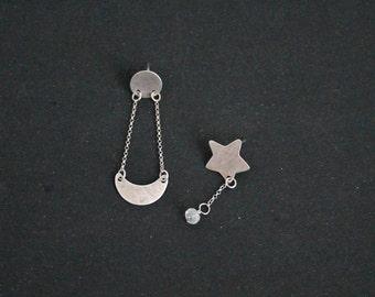 Star moon post earrings, sterling silver and moonstone gemstone, galaxy earrings boho