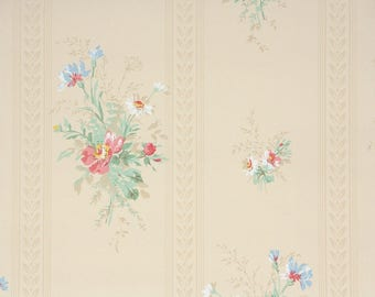 1940s Vintage Wallpaper by the Yard - Floral Wallpaper with Pink and Blue Flowers on Cream