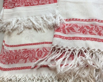 Set of 3 Victorian Turkey Red White Damask Linen Fringed Table Runners Towels