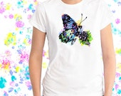 Ladies T-shirt Blue Butterfly Art Sizes XS-2X
