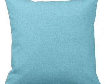 "SOLID Baby Blue - Turquoise - Throw Pillow, Decorative Pillow, Pillow Cover, Pillow Insert, Pillow Case - SQUARE- 17"" x 17"" - Zipper Closure"