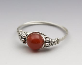 Carnelian Bali Sterling Silver Wire Wrapped Bead Ring - Made to Order, Ships Fast!