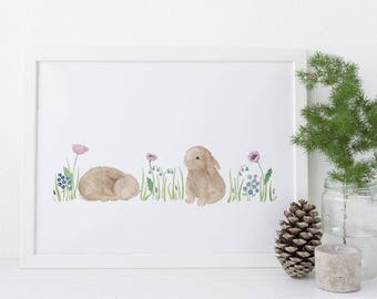 Baby Bunnies Art Print / Watercolor / Nursery Decor / Gifts for Girls / Bunny Art / Gifts for Her / Gifts for Moms / Baby Shower Gifts