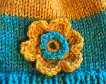 Messy Bun Beanie for Toddler Turquoise Yellow Spring Flower Hat