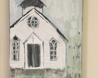 Country Church with Architectural window - Acrylic on Canvas Painting