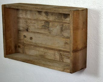 Beautiful box style wall shelf from recycled wood