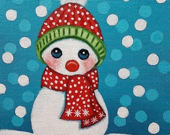 Original Snowman Frozen Winter Acrylic Painting Tamia Chicasol