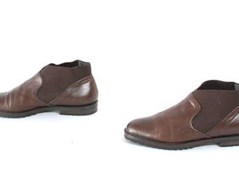 size 6.5 CHELSEA brown leather 80s 90s MINIMAL pull on ankle boots