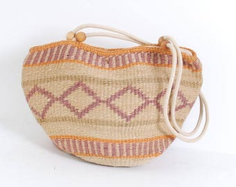 PASTEL woven stripe 80s 90s SISAL JUTE bucket tote zipper purse bag