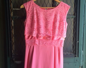Classic Vintage 1960s mid century Dress Frock dark pink lace sheath cocktail dress