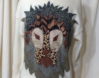 Vintage Tribal mask 80s Sweater Leopard JUNGLE wild Unique winter SOFT Oversize white sweater