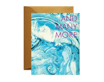 AND MANY MORE Aqua/Indigo Marble Greeting Card  / Birthday / Anniversary / Best Seller