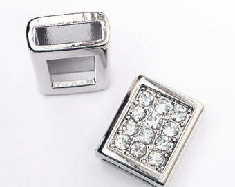4 pcs  Clear rhinestone slide charm, antique silver alloy slide charm 13x16x7mm