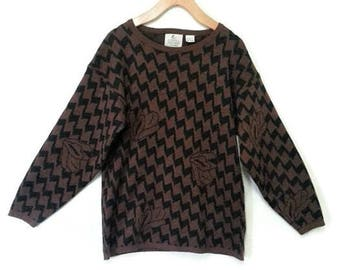 Vintage 80s Zigzag Sweater Campus Casuals Small Medium
