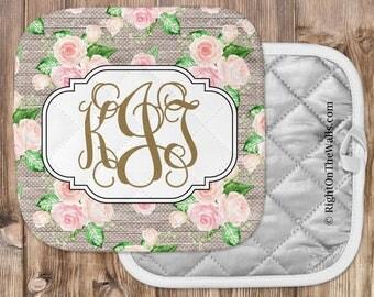 Shabby Monogram Pot holder, Kitchen Accessories, Custom Kitchen Potholder, Floral Kitchen Decor, Oven Mitt, Roses