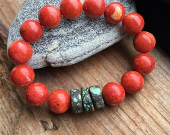 Rich Rustic Red Sponge Coral Beads and Natural Turquoise Disc Stretch Bracelet
