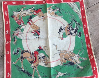 "Vintage Child's Cowboy Rodeo Hanky Hankie - Horses & Roping Cows 13.5"" X 13"" (4562-W)"