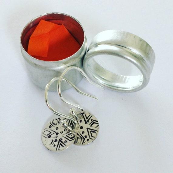 Tiny Sterling Silver Circles in Aluminium Gift Tin - Tribal - Folk - Aztec -