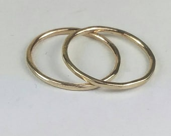 2 Solid 14k Gold Pinky Rings, Gold Stackable Rings, Super Thin 14k Gold Rings, Size 2, Solid Gold Stackable Rings by Maggie McMane Designs