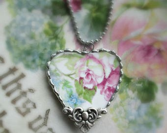 Vintage - Recycled Broken China - Old Rose Garden - Pendant - One of a Kind Piece