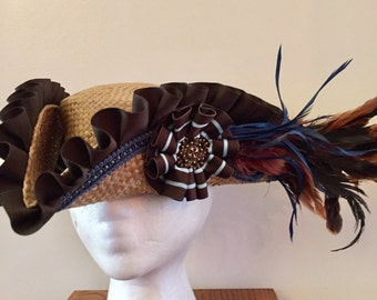 Brown Pirate Hat Brown and Blue Straw Ready to Ship