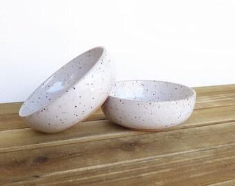 Pottery Prep Bowls Stoneware Ceramic in Glossy White Glaze - Set of 2