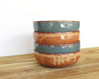 Sea Mist and Shino Stoneware Ceramic Pottery Bowls - Set of 4