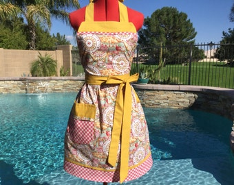 Apple Pie Sassy Apron, Retro Style with Gathered Waist and Towel Loop, Womens Misses and Plus Size Aprons,  Full, An Apple A Day