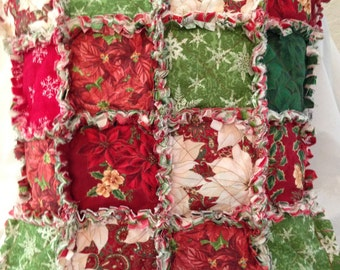 Christmas Rag Quilt  Pillow 19 X 19 Gift Christmas Prints Pillow Form incuded Pretty Holiday
