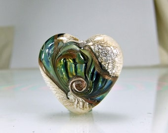 Blue Ivory Lampwork Heart Focal Bead SRA BEADS