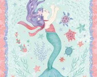 Mermaid Dreams -Panel-  Studio E - Nautical Fabric - Coral- Blue- Aqua- Ocean- Cotton Fabric- By the Panel