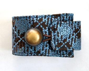 Silk Bracelet - Necktie Bracelet - Necktie Cuff - Upcycled Vintage Necktie - 70s Plaid - Boho Jewelry - Brown and Blue Silk Cuff. 2