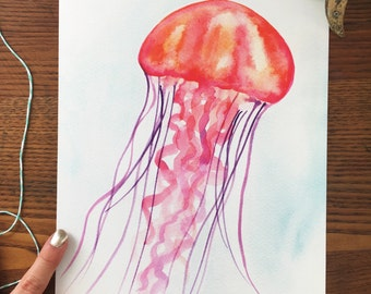 Jellyfish Art. Jellyfish Art Print. Watercolor Jellyfish Painting. Nautical Decor. Home Decor. Ready to Frame. 8x10 Art Print. Beach Decor