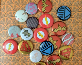 19 verity of super hero and random pinback buttons