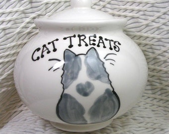 Grey & White Cat On Ceramic Treat Jar With Lid Handmade by Grace M Smith