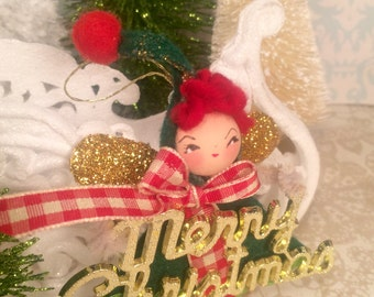 Christmas ornament vintage retro inspired red green gold christmas elf ornament christmas pixie ornament ooak art doll