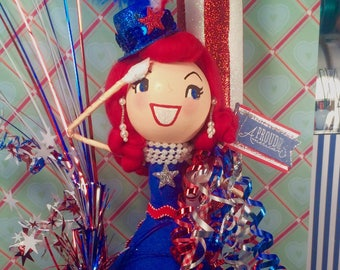 July 4th centerpiece 4th of july doll liberty patriotic red white and blue vintage atomic retro inspired Memorial Day decor america USA