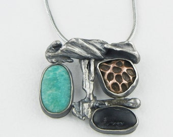 Needlecast Silver with Amazonite, Cast Copper, and Lake Superior Basalt